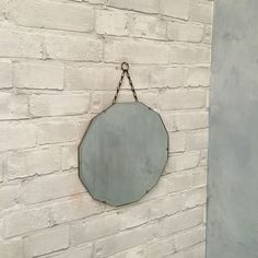 Vintage Bevelled Edge Wall Mirror 30s 40s Retro Art Deco With Chain 12 Sided