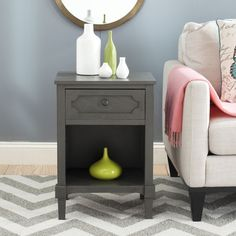 This savvy side table refreshes any room with its soft modern style and crafted drawer detail.