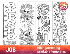 JOB - 4 Bible journaling printable templates, illustrated christian faith bookmarks, black and white bible verse prayer journal