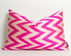 Neon Pink Chevron Ikat Pillow Cover Hot Pink Silk Ikat Lumbar Cushion Zigzag Throw Pillow Housewares Pink Cushions Modern Pillow