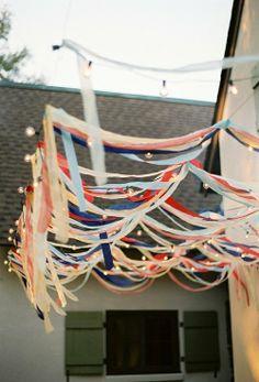 ribbon + lights... Party decoration!
