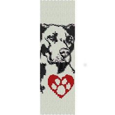 I LOVE MY PIT BULL DOG - LOOM beading pattern for cuff bracelet FINAL SALE! 50% OFF!