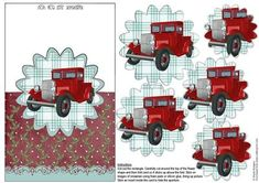 Red Truck Scalloped Over The Edge Pyramid on Craftsuprint - Add To Basket!