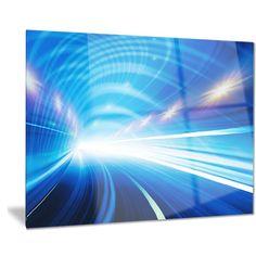 Designart 'Speed Motion in Highway Tunnel' Abstract Digital Art