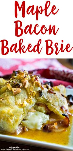 Maple Bacon Baked Brie topped with walnuts-this is a very easy to make appetizer recipe that always impresses, one of my go to easy entertaining recipes!