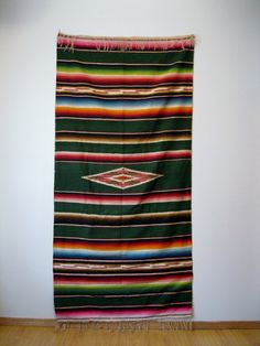 Vibrant Antique Wool Mexican Saltillo Serape Vintage Blanket Gorgeous Colors