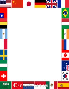Printable world flags border. Use the border in Microsoft Word or other programs for creating flyers, invitations, and other printables. Free GIF, JPG, PDF, and PNG downloads at http://pageborders.org/download/world-flags-border/