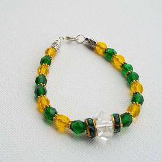 Emerald Green Yellow Bracelet Czech Glass by Willows3Creations
