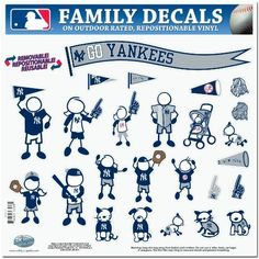 """MLB New York Yankees Large Family Decal Set by Siskiyou. Save 36 Off!. $11.44. Great for car or home. Repositionable. Officially licensed MLB product. Outdoor rated. 25 individual characters. Show off your team pride with our New York Yankees family automotive decals. The set includes 25 individual family themed decals that each feature the team logo. The 11"""" x 11"""" decal set is made of outdoor rated, repositionable vinyl for durability and easy application."""