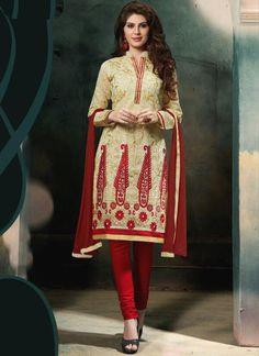 Princely Cream Resham Work Chanderi Cotton Churidar Salwar Kameez