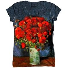 """Van Gogh Vase with red Poppies"""" (1886) ❤ liked on Polyvore featuring home, home decor, vases, tops, poppy home decor, red home decor, red vase and red home accessories"""