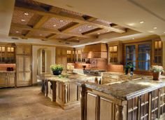 Large kitchen with coffered ceiling