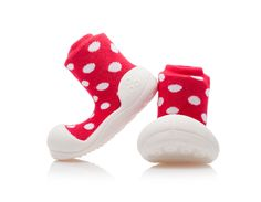 Barefoot topánky ATTIPAS Polka Red, S/M/L/XL - ATTIPAS Baby Gear, Barefoot, Baby Shoes, Polka Dots, Socks, Red, Clothes, Fashion, Newborn Babies