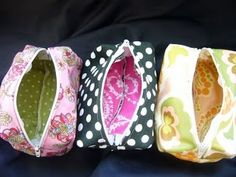 "DIY make up bags! EVERYONE needs a new one now or later anyways!!   Just bring a 1/2 yard of your favorite fabric(s) and a string of zipper about 12""long (HOBBY LOBBY)   Sew (lol) easy!! I have a sewing machine I can bring and if 1 or 2 more can bring theirs we can knock these out!!   I LOVE THIS IDEA!!"