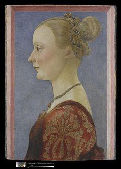 Titre : Portrait de femme  Description : Entre 1461 et 1496  Auteur : Pollaiuolo Antonio del (1431/1432-1498)  Période : 15e siècle, Renaissance (période)  Technique/Matière : détrempe, peinture sur bois
