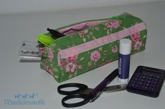 Schlampermäppchen Bago, Lunch Box, Handmade, Baskets, Cotton Textile, Dressmaking, Bags Sewing, Diy Presents, Hand Made