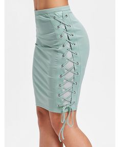 High Waist Lacing Side Skinny Skirt - Light Sea Green L Fall Summer Pencil Skirt Casual, Pencil Skirt Outfits, High Waisted Pencil Skirt, Pencil Skirts, Pencil Dresses, Fitted Skirt, Body Con Skirt, Discount Designer Clothes, Discount Clothing
