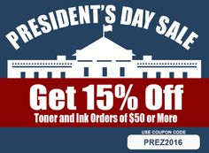 Hi Everyone,   Happy President's Day (weekend)! For a limited time, get 15% off your order of $50 or more. Just use coupon code PREZ2016 at checkout. This is the perfect time to stock up on remanufactured toners and inks. Get shopping now at TonerGreen.com. As always, orders $50 and up qualify for free shipping. This offer ends on February 18, 2016.  Sincerely, The TonerGreen Team Presidents Day Weekend, Happy Presidents Day, Xerox Toner, Ink Toner, Toner Cartridge, Coupon Codes, Coupons, February, Coding