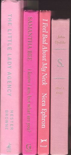 Shades of Pink Books, set of 4,  light pink, hot pink, coral, and salmon decor for library, wedding, office, photo prop, staging