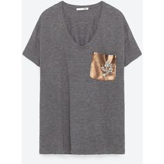 GEM POCKET T - SHIRT-View all-T-SHIRTS-WOMAN | ZARA United States ($23) ❤ liked on Polyvore featuring tops, t-shirts, pocket tees, gem top, pocket tops and pocket t shirts
