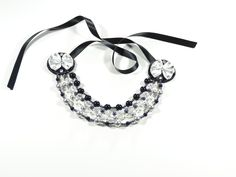 Classy Girl Collection  Elegant Statement necklace with Swarovski stones, One of a kind