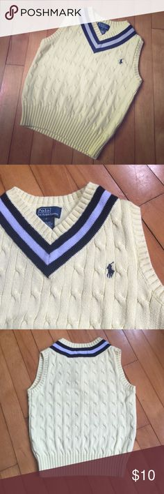 Yellow Polo sweater vest, boys sz 6 Polo by Ralph Lauren sweater vest, bright cheery yellow (pictures make it look light yellow; it is not) with navy and light gray accents. Boys size 6, though I think it runs small. All items from a clean, smoke-free home. Please feel free to ask any questions or make an offer! Polo by Ralph Lauren Shirts & Tops Sweaters