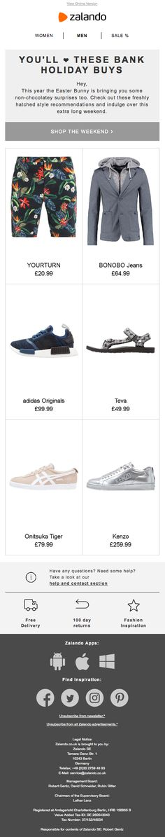 Mobile first email design from Zalando Responsive Email, Onitsuka Tiger, Email Design, Kenzo, Shoes Online, Adidas Originals, Fashion Shoes, Stuff To Buy, Shopping