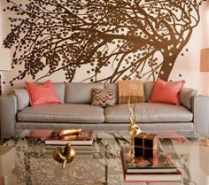 """""""Living Room with Mural"""", tree was hand-painted and is inspired by a mural by French fashion designer Paul Poiret; post by Design Sponge, pinned by Emma Thompson Home Interior, Interior And Exterior, Interior Design, Color Interior, Interior Livingroom, Interior Modern, Sofa Design, Wall Design, Interior Decorating"""