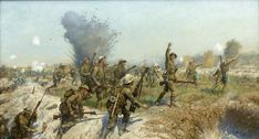A classic art print by artist J.P. Beadle of the Ulster Division advancing into the German trenches during the Battle of the Somme. The officer shown leading the unit is Lt Francis Bodenham Thornley.
