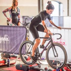 """fixiegirls: """"Repost from @bekanntamstrand Had some fun at #raphanocturne in Copenhagen, too. For example when @eeva100 showed me how to use rollers for the first time for my warmup before the #fixedcrit. Thanks for your help, girl. Also, this might..."""