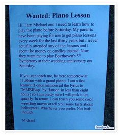 Wanted: Piano Lessons