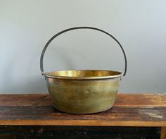 Primitive Large Brass Pail with a Black by HoneyBeeHillVintage