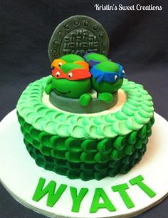 Teenage Mutant Ninja Turtle Cake with green ombré petal effect
