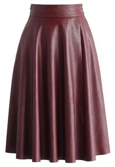 Textured Faux Leather Skirt in Wine - New Arrivals - Retro, Indie and Unique Fashion