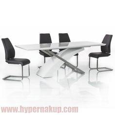 Moderný luxusný rozkladací jedálenský stôl farebné prevedenie: biela s extra vysokým leskom HG,materiál: MDF+kov,ŠxHxV: 160-220x90x76 cm.Hmotnosť: 44 kg Jedálenský stôl, rozkladací 160/220, MDF + kov, KROS   DOPRAVA ZADARMO   HYPERNAKUP.COM   PREDAJ