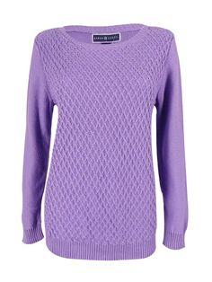 Karen Scott Women's Textured Long Sleeve Knit Sweater