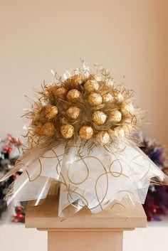 24 Pcs Ferrero Rocher Chocolates in Basket. Ferrero Chocolate, Chocolate Tree, Chocolate Basket, Chocolate Hampers, Chocolate Gifts, Rocher Chocolate, Food Bouquet, Gift Bouquet, Candy Bouquet