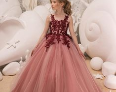 Blush Pink and Maroon Flower Girl Dress Birthday Wedding Party Holiday Bridesmaid Flower Girl Blush Pink and Maroon Tulle Lace Dress Gold Flower Girl Dresses, Little Girl Dresses, Flower Girls, The Dress, Baby Dress, Girls Dresses Online, Girls Pageant Dresses, Princess Dresses, Kids Gown