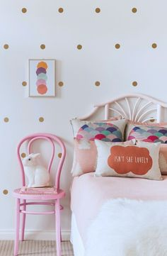 Dots #walldecal in a metallic finish.  Simple to install or take down!  Pink and gold theme is perfect for a little girl!  #kidsroomdecor