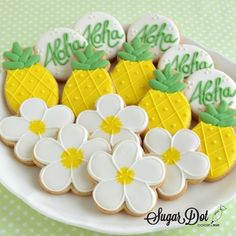 Order custom, personalized, decorated cookies Sugar Dot Cookies with royal icing in Frederick, MD. Learn how to decorate sugar cookies and how to start or grow your business with local and live online private and group classes. Hawaiian Cookies, Luau Cookies, Pineapple Cookies, Summer Cookies, Iced Cookies, Cookies Et Biscuits, Cupcake Cookies, Mini Cookies, Cookie Favors