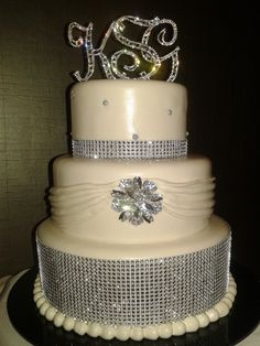 Our elegant Rhinestone cake will be a sensational sparkle to your crystal wedding.
