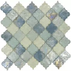 Heavenly Lagoon Blue Glossy & Iridescent Glass Tile-$22.99