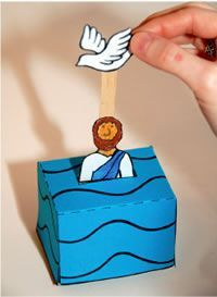 John Baptizes Jesus:  Matt 3, Mark 1, Luke 3, John 1 - Jesus' baptism using upside down blue paper cup and popsicle stick