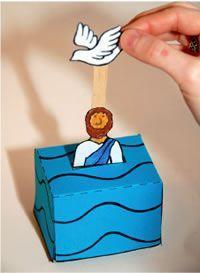 John Baptizes Jesus:  Matt 3, Mark 1, Luke 3, John 1 - Jesus' baptism using upside down blue paper cup and popsicle stick