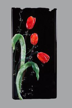 Donna Sarafis -- a friend and mentor --   www.DancingLightFusedGlass.com  Red, Red, And Red On Black - Delphi Stained Glass
