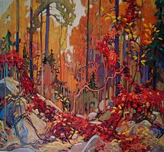 """Autumn's Garland"" - by member of the Group of Seven Canadian painters, Tom Thomson. Canadian Painters, Canadian Artists, Abstract Landscape, Landscape Paintings, Tree Paintings, Forest Landscape, Watercolor Landscape, Tom Thomson Paintings, Fall Garland"