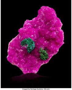 Cobaltoan Calcite with Malachite. By fineart.ha.com