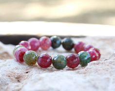 Watermelon Agate Stretch Bracelet Summer Bracelet #HEPTEAM