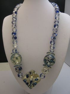 Early Lucite Confetti Necklace Indigo and Clear