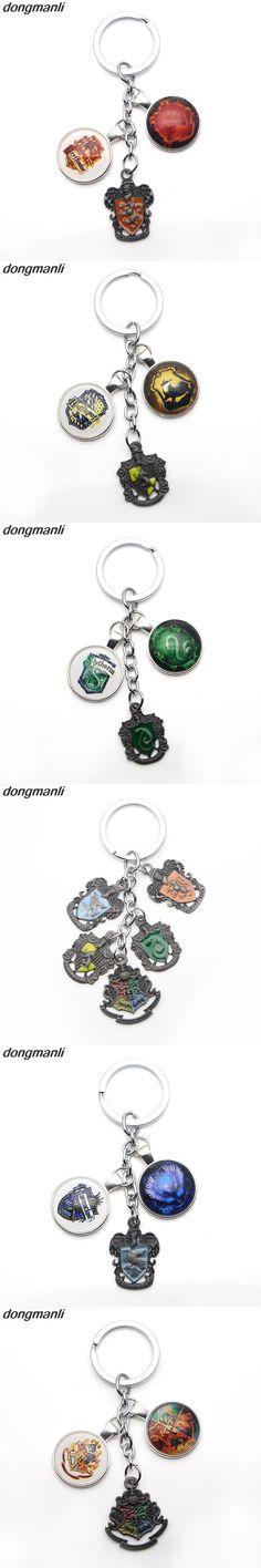 P252 dongmanli Harry keychain Slythrin Gryffindor Ravenclaw Hufflepuff School Badge Car key chain Fashion jewelry key Rings